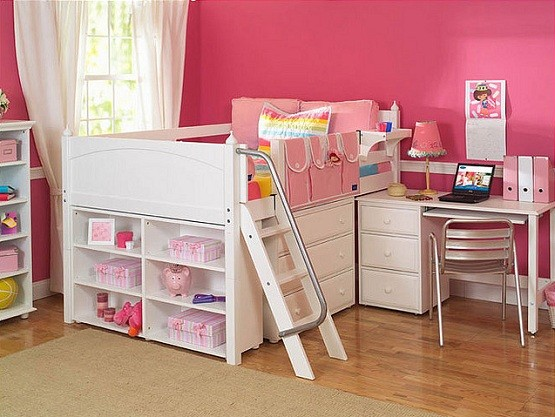 White storage beds for toddler with desks