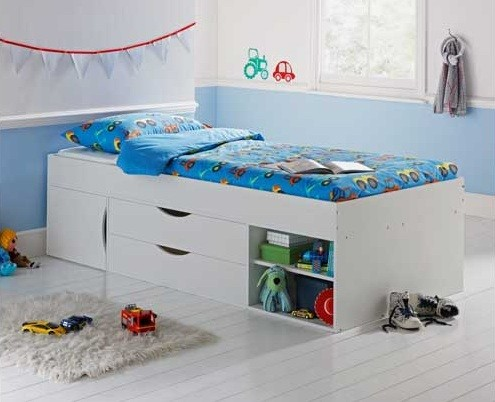 White storage beds with drawer for kids
