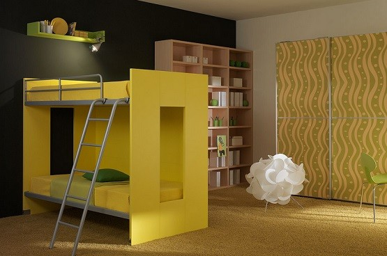 Yellow bunk bed sets for kids