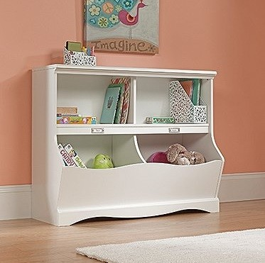 Soft white bookcase toy chest