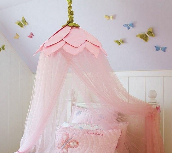 Bed canopy for girls with butterfly ceiling decorations