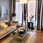 Decorating Your Small Living Room Using Blue and Brown Curtains