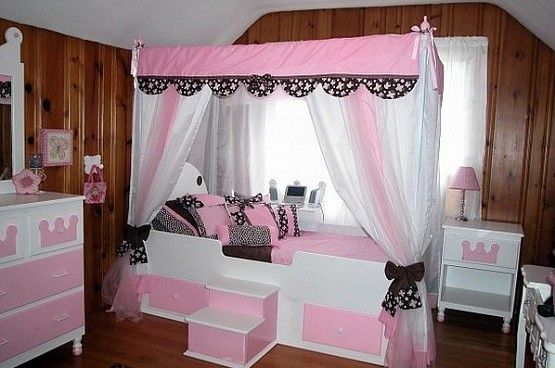 Pink bed canopy sets for girls