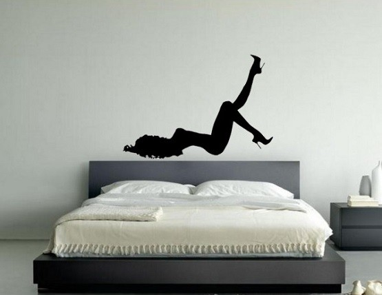 Silhouette bedroom wall art with wall stikckers