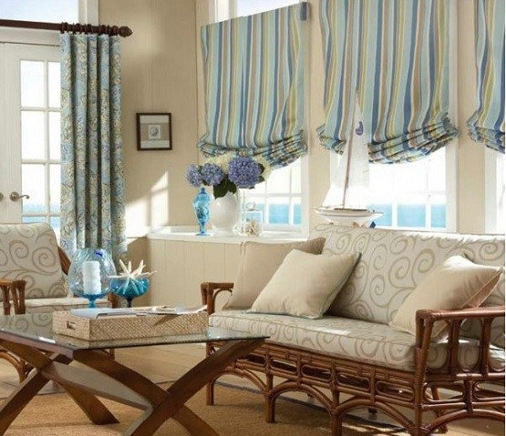 Decorating Your Small Living Room Using Blue And Brown Curtains » Small  Living Room With Blue And Brown Curtains Pictures