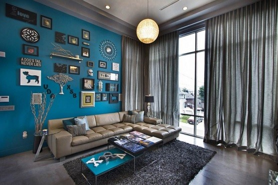 wide curtain in blue and brown living room - Blue Curtains For Living Room