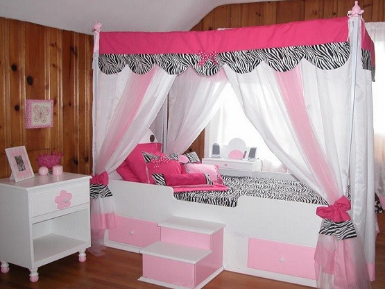 Zebra cascading tent bed canopy for girls & Making bed canopy for girls with less budget | Home Interiors
