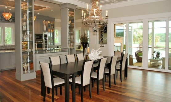 Black painted long dining room tables