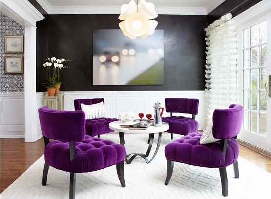Black & white dining room with purple tufted dining chairs | Home ...