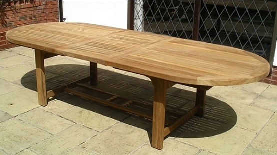 Chunky 12 seat oak dining table