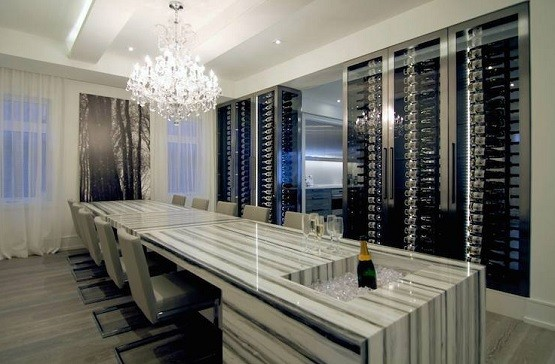 Contemporary style long dining room tables