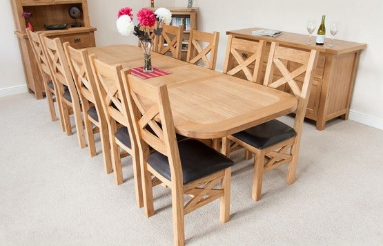 country oak 12 seat dining table large x leg home interiors. Black Bedroom Furniture Sets. Home Design Ideas