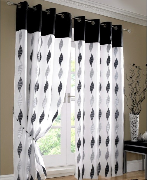 Damask curtains black and white for patio doors
