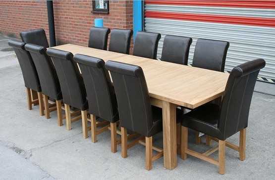 Large Butterfly Extending 12 Seat Dining Table