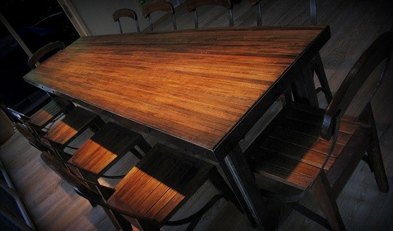 Long reclaimed wood dining room tables
