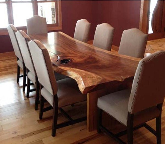 Long walnut dining room table and chair
