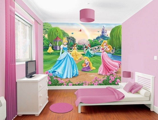 Pink Bedroom Sets With Disney Princess Wallpaper Home