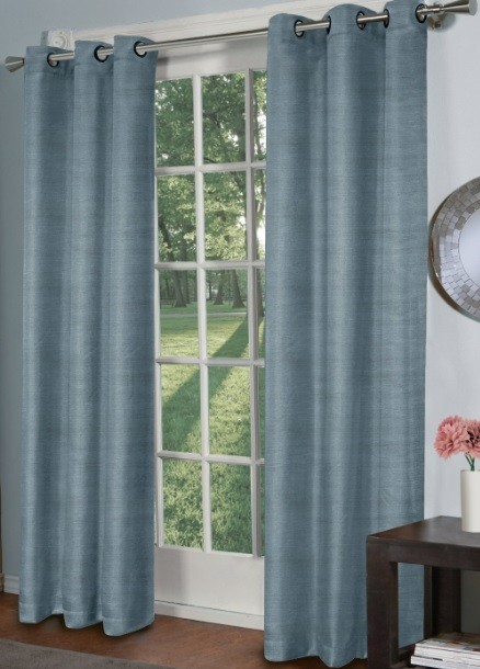 Raw silk panel curtain for patio doors