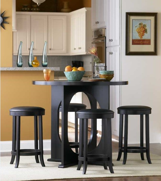 Round black counter height dining sets