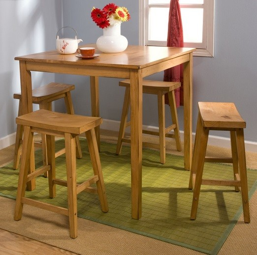 Rustic oak counter height dining sets
