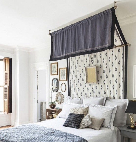 Simple black and white bed canopy drapes