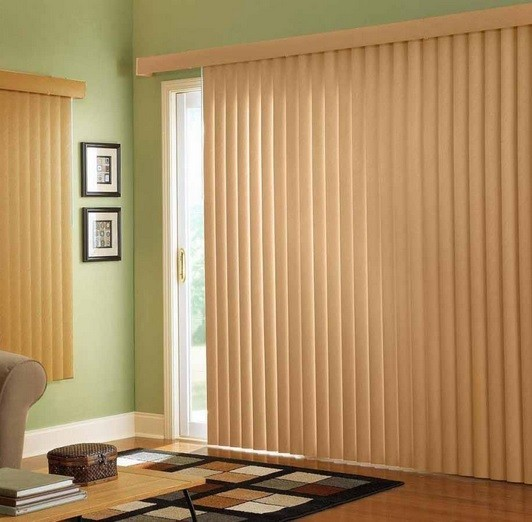 Sliding glass doors with elegant curtains style