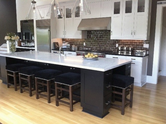 Transitional kitchen with long dining room tables