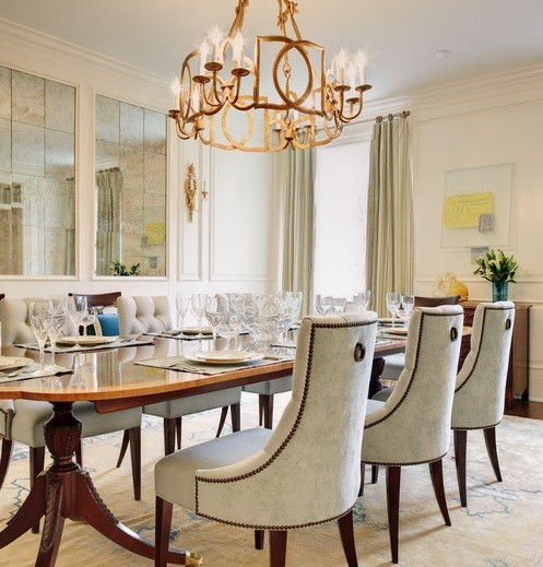 Tufted dining room chairs with oval table