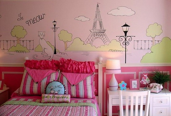 Wall mural Paris themed bedroom ideas for girls - Madchen Tapete