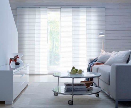 White Sliding Panel Curtains For Patio Doors