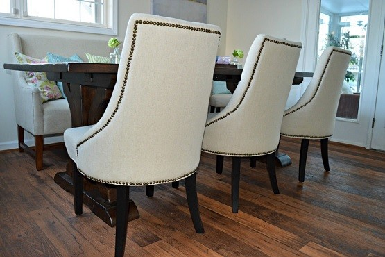 Tufted Dining Room Chairs Bring Simplicity White With Hardwood Table