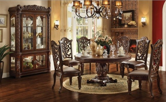 72 Inch round top dedestal table dining set