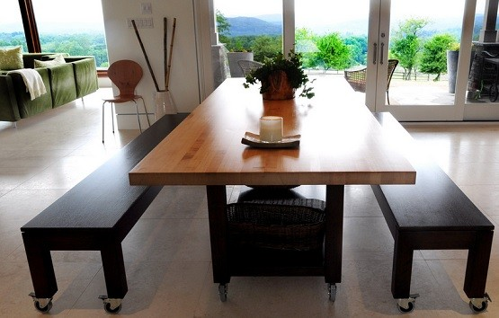 Butcher block dining table with bench Home Interiors