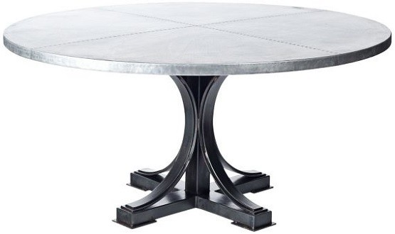 Hammered zinc 72 inch round dining table