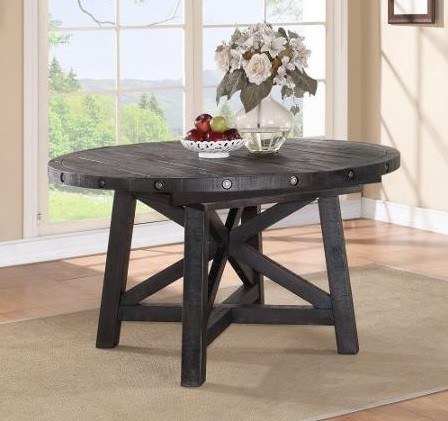 Rustic style 72 inch round extension dining table