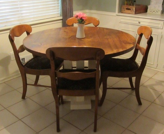 Solid wood round farmhouse dining table