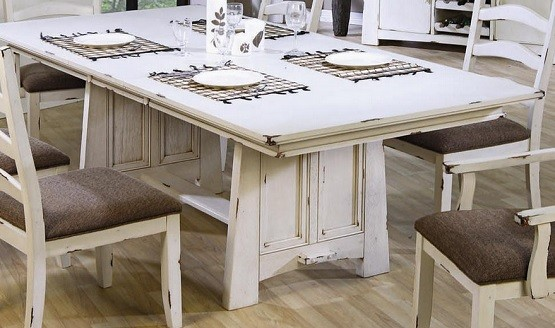 Distressed White Dining Room Table And Chairs