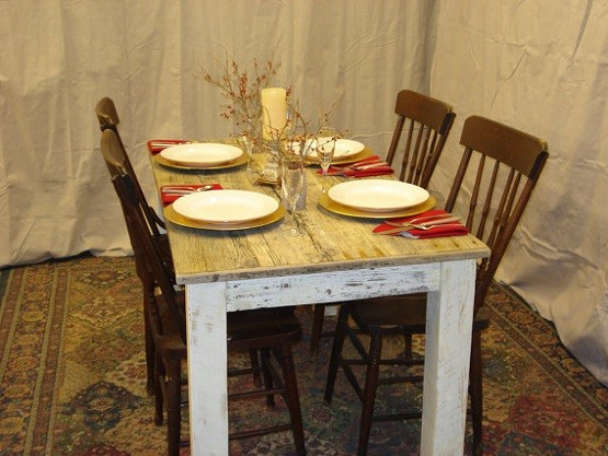 Small dining table with white distressed bottom