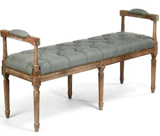 Antique French Blue Bench With Tufted Seat For Bedroom