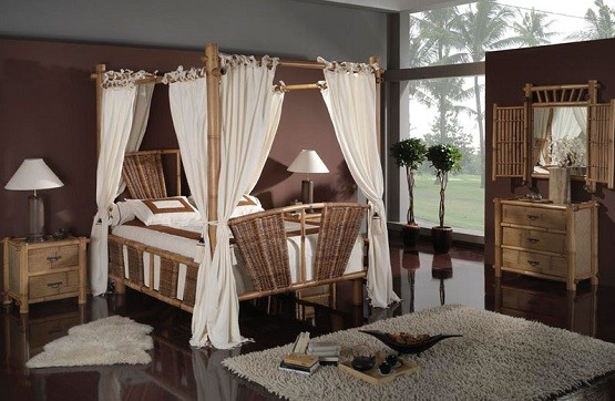 Bamboo canopy bedroom furniture with dressing table and mirror