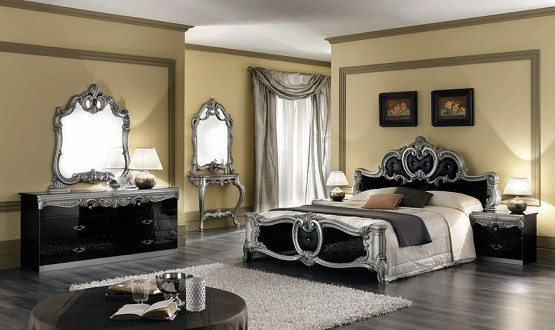 Black and silver gothic bedroom furniture