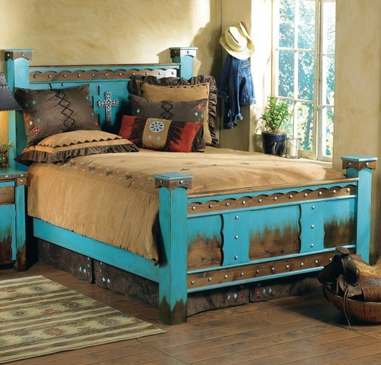 Blue Rustic Bedstead With Storage