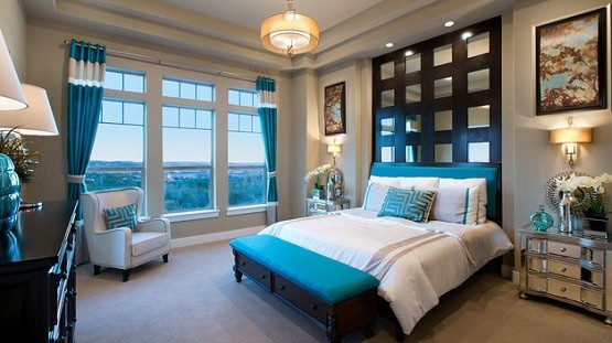 Brown and teal feng shui Bedroom color