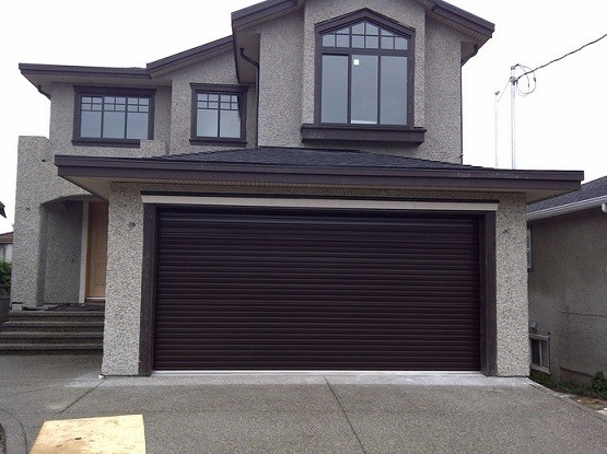 Dark brown painted residential roll up garage doors  Home Interiors