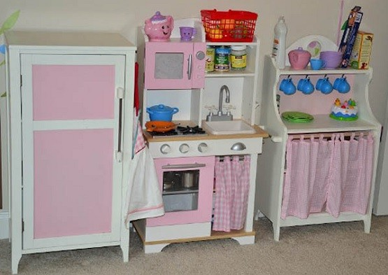 Pink Wooden Play Kitchen Set For Kid