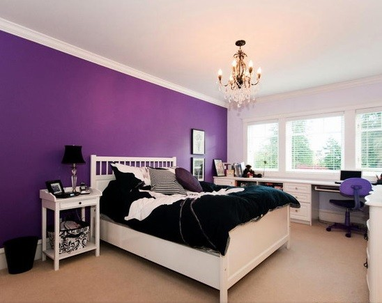 Purple bedroom wall color ideas with white furnitureHome Interiors