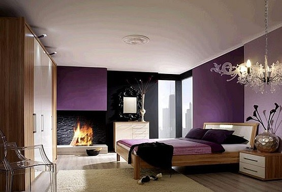 Purple bedroom with luxury bedroom chandelier