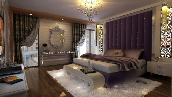 Purple luxury master bedroom ideas