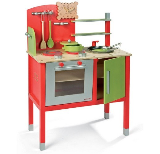 Red wooden play kitchen set with double stove home interiors for Kitchen set red