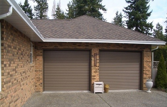 Residential Roll Up Twin Garage Doors Brown